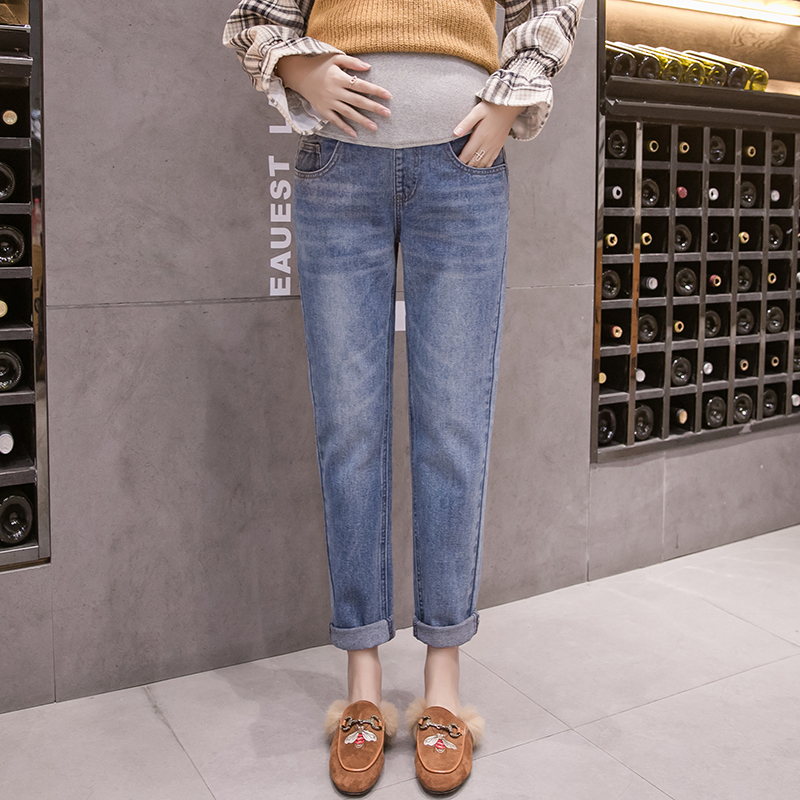 1901# Autumn Winter Fashion Denim Maternity Jeans Adjustable Belly Straight Pants For Pregnant Women Loose Pregnancy Trousers