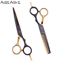 "5.5 ""AQIABI JP 440C kappers scharen Haar Knippen Schaar Dunner Schaar Kappersschaar Professionele Haar Schaar Kapper Schaar beard scissors kappers set effileerschaar A1029(China)"