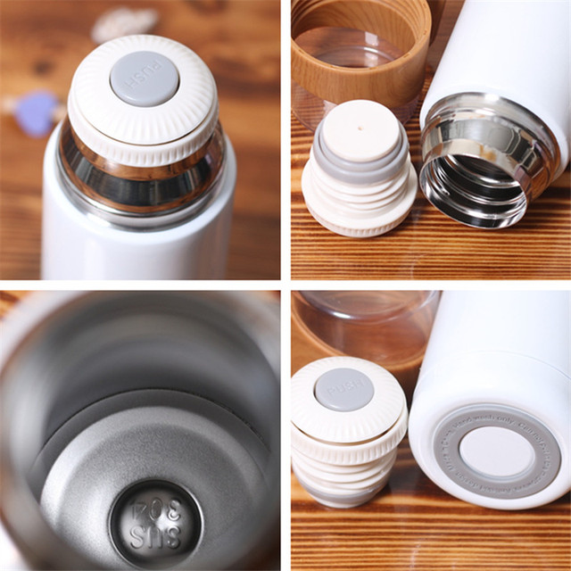 New 350ml/500ml Vacuum Flasks Protable Vacuum Water Bottle 304stainless steel Thermos Cup Wood Grain Jazz Drinking Cap 5