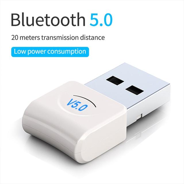 Adaptador de llave electrónica Bluetooth V5.0 con USB para ordenador, portátil, inalámbrico, para música, altavoz, receptor y Transmisor de auriculares