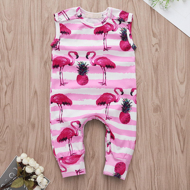 Watercolor Flamingo Infant Baby Romper Summer Short Sleeve Jumpsuit Funny Gift