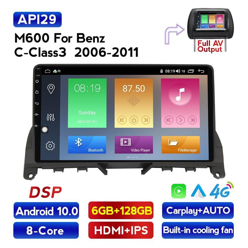 MEKEDE 4G LTE Android 10 4G автомобильное радио, мультимедийный видеоплеер, навигация GPS для Mercedes Benz C Class 3 W204 S204 2006 - 2011