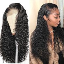 Derin dalga peruk 13x4 kıvırcık su dalga dantel ön İnsan saç peruk siyah kadınlar için tutkalsız brezilyalı Remy kıvırcık insan saçı peruk