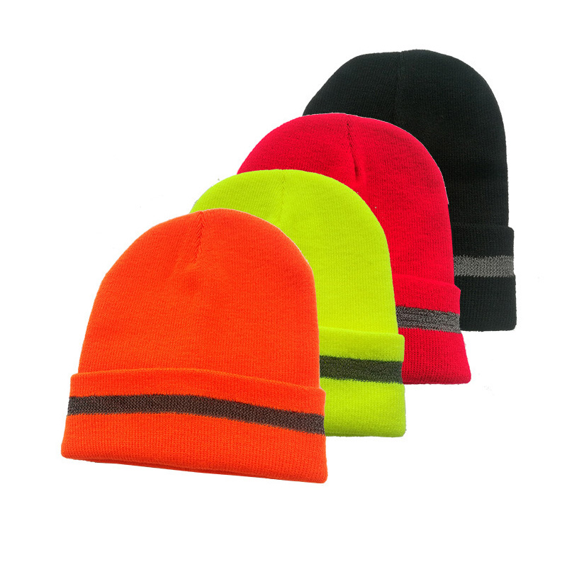 Hi-Viz Knitted Cap With Reflective Stripe For Men And Women