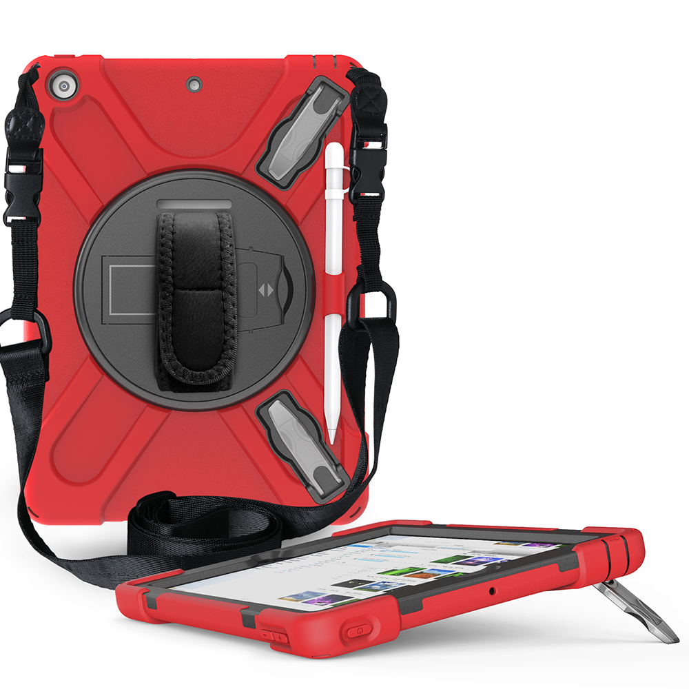 red Red Case for iPad 10 2 Heavy Armor Kids Shokproof Cover A2197 A2198 A2200 A2270 A2428 A2429