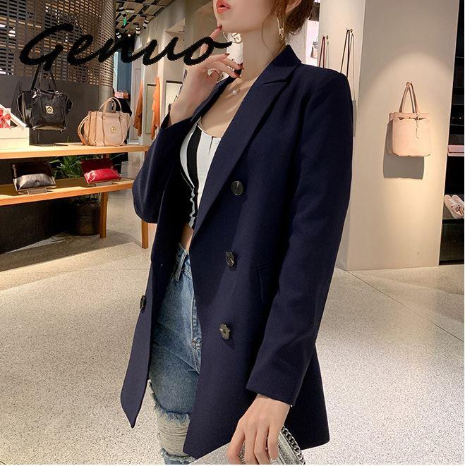 Genuo Women Blazer Jacket Outwear Coat Suits Spring Female Autumn Double-Breasted Casual