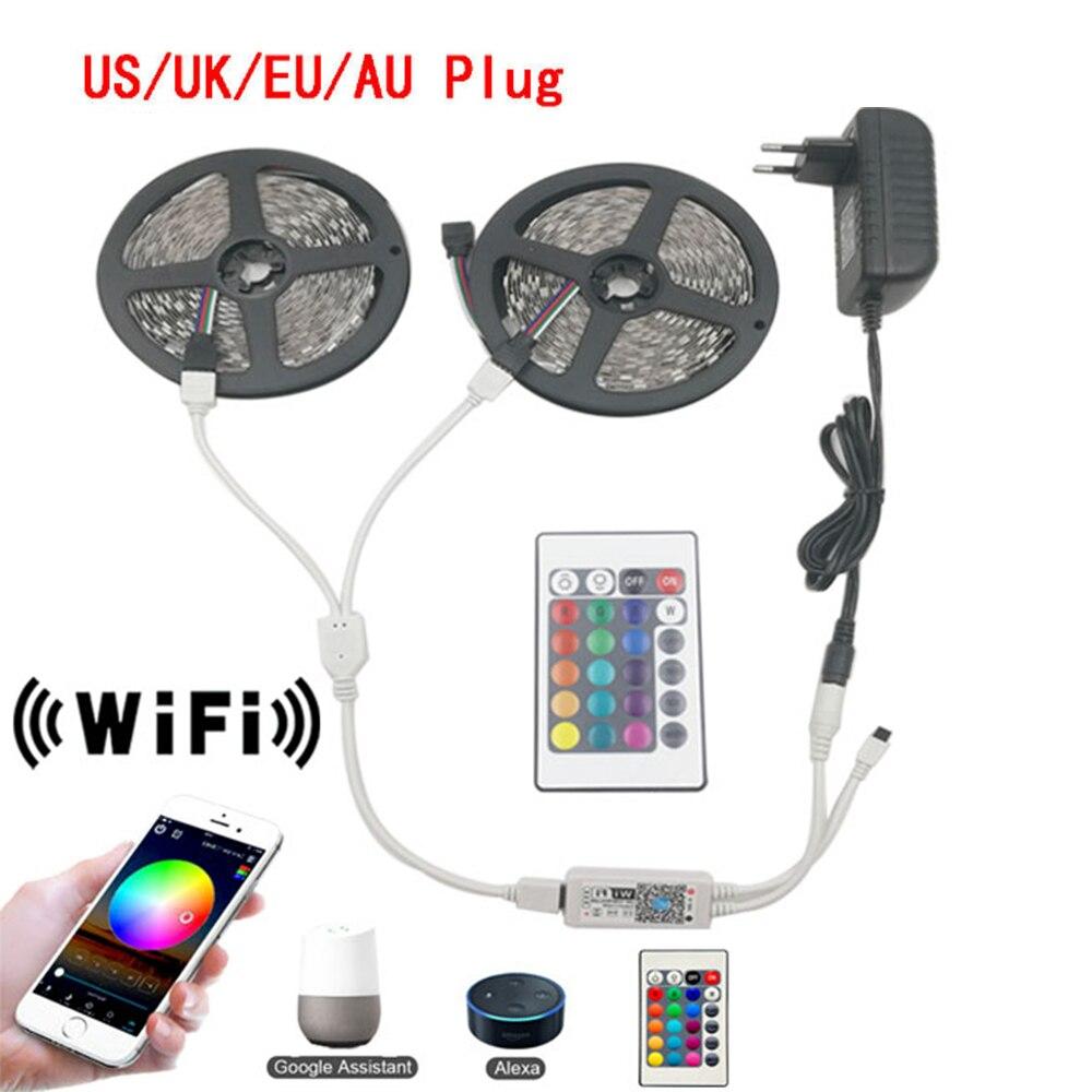 5 м 10 м, Wi-Fi, Светодиодные ленты светильник RGB Водонепроницаемый 300/600 Светодиоды SMD 5050 2835 DC12V строка гибкая лента Wi-Fi Contoller + адаптер штепсельной ...
