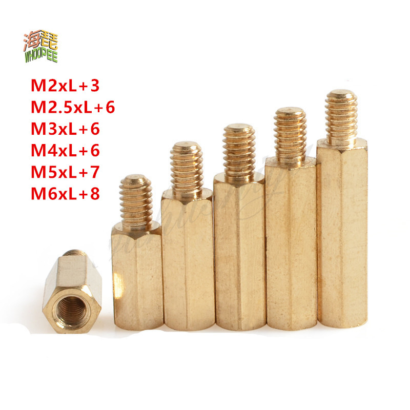 50 шт. 20 шт. 10 шт. 5 шт. 2 шт. мужские и женские латунные разделители M2 m2.5 m3 m4 m5 M6 длинные шестигранные латунные стойки для печатной платы разделит...