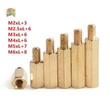 50 pces 20 pces 10 pces 5 pces 2 pces masculino para fêmea de bronze espaçador m2 m2.5 m3 m4 m5 m6 longo hexagonal bronze pcb standoffs espaçadores