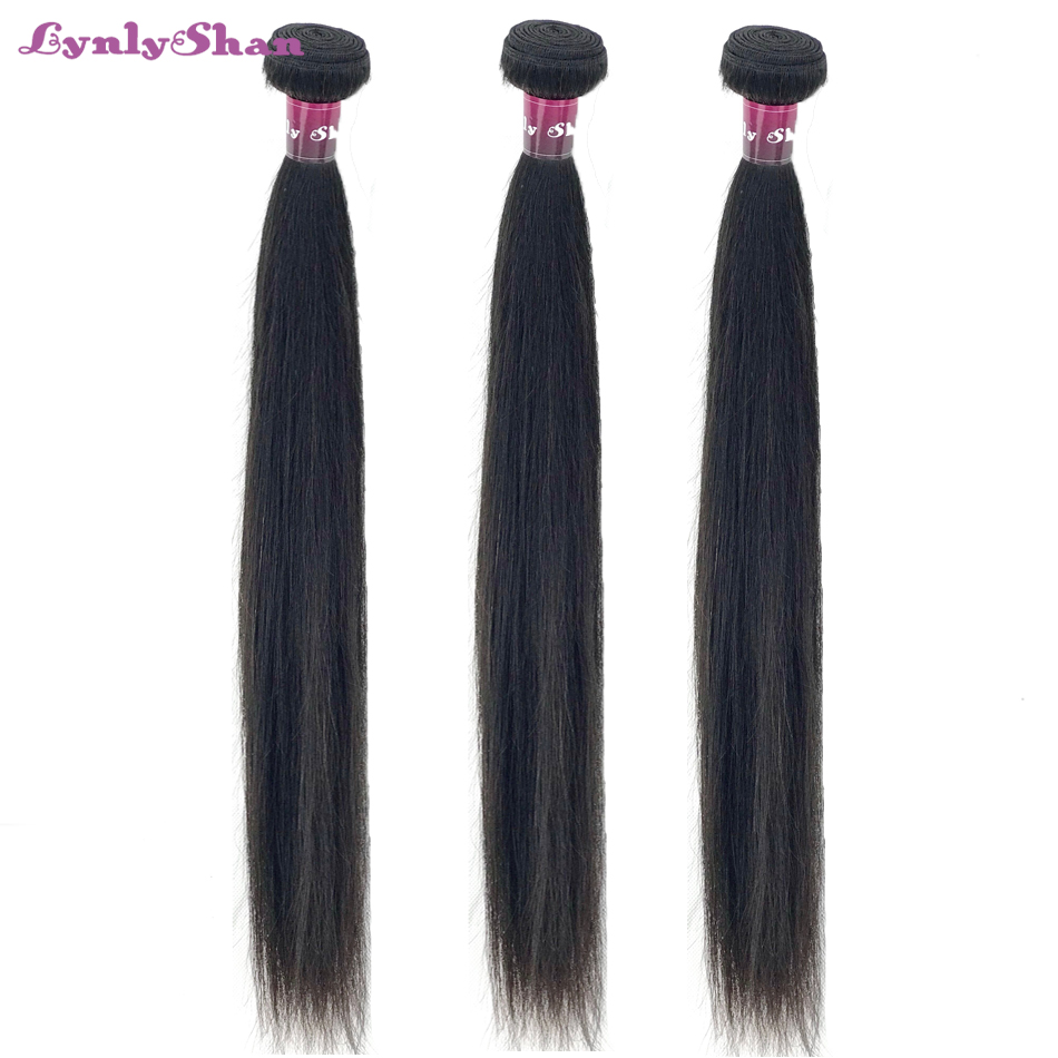 Lynlyshan Hair Brazilian Straight Hair Bundles Weave 100% Remy Human Hair Bundles Nature Color 8-30 Inch Free Shipping