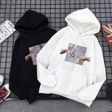 Hoodies com capuz michelangelo arte estética pintura a óleo céu harajuku personalidade pullovers quente feminino solto streetwear moletom