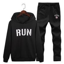 Men Two Pieces Set New Fashion Hooded Sweatshirts Sportswear Letter Print Tracksuit Autumn Plus Size Hoodies+Pants Sets