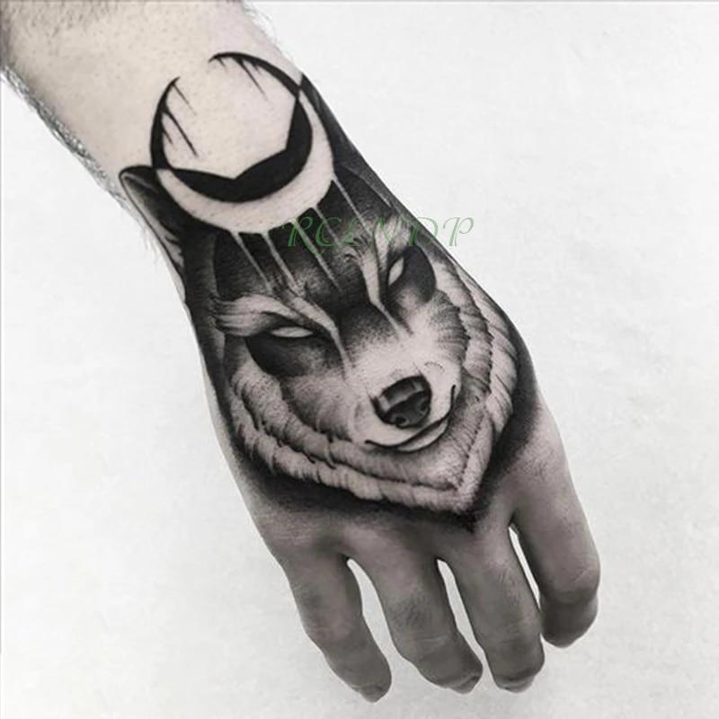 Waterproof Temporary Tattoo Sticker Wolf Moon Fake Tatto Flash Tatoo Hand Arm Middle Size Art Tattoos For Boy Women Men Temporary Tattoos Aliexpress