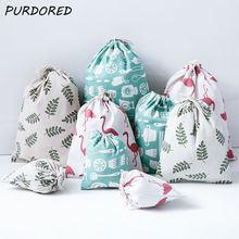PURDORED, 1 шт., переносная сумка с фламинго на шнурке, Женская Пылезащитная дорожная сумка для хранения, хлопковый лист, женская косметичка, Органайзер