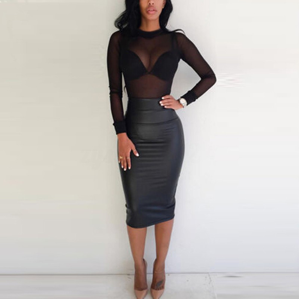 Sexy Mesh Perspective Tee Top For Woman Long Sleve O-Neck Clubwear T-Shirt Tops Ladies Fashion Solid Color Tops Blusa #LR1