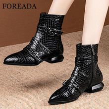 FOREADA Snake Print Short Boots Woman Rivet Low Heel Ankle Boots Zip Block Heel Shoes Buckle Pointed Toe Lady Footwear Autumn 46 haraval handmade winter woman long boots luxury flock round toe soft heel shoes elegant casual warm retro buckle solid boots 289