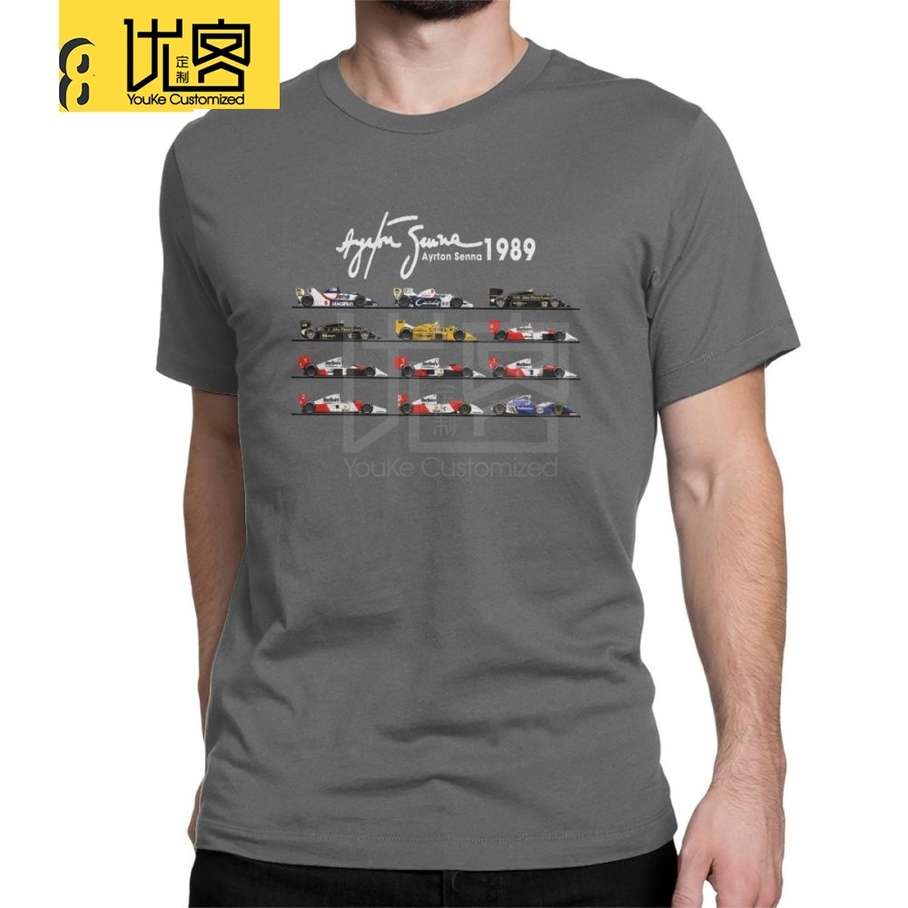 Man's All The Cars Ayton Senna Formula 1 Racing Car <font><b>F1</b></font> <font><b>T</b></font>-<font><b>Shirt</b></font> Crew Neck Short Sleeve Tops Pure Cotton Tee <font><b>Shirt</b></font> Summer <font><b>T</b></font> <font><b>Shirts</b></font> image