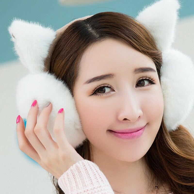 Solid Earlap Faux Fur Winter Warmer Big Earmuffs Thicken Plush Fluffy Ear Muffs