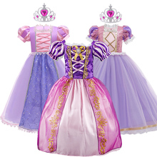 Rapunzel Dress Girls Tangled Costume Crown and Wig Little Girl Birthday Party Costume Kids Cosplay Christmas Evening Dress