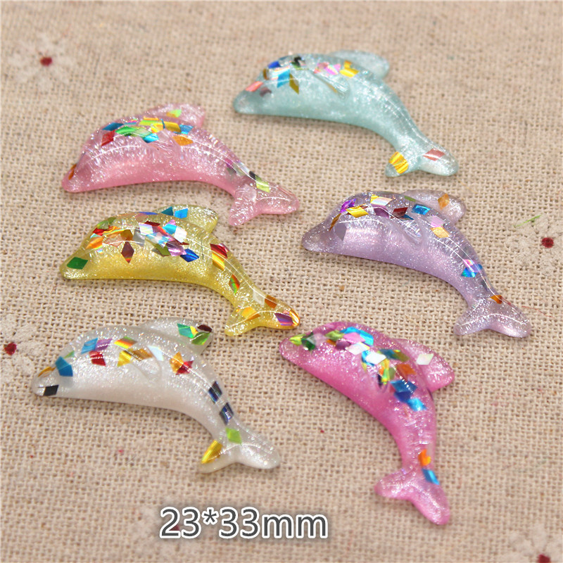 13x35mm Resin Cabochons Gradient Dolphin Shaped Miniatures Craft Decors 10 pcs