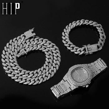 Collar, reloj y pulsera de Hip Hop, cadena cubana de Miami, Color...
