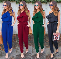 One Shoulder Elegant Long Jumpsuits Women Slim Belted Summer Rompers Overalls 2017 Fashion Sexy Ruffles Bodysuits Chiffon Pants