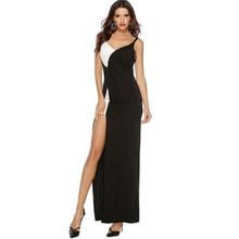 цена на Party Dress Women Black White Color Block V-Neck Sleeveless Spaghetti Strap Patchwork Split Sexy Elegant Summer A-Line Dress
