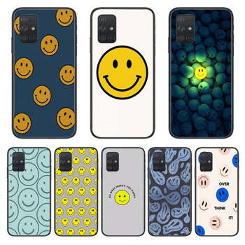 Smile face Fashion Matte Phone Case Hull For Samsung Galaxy A 50 51 20 71 70 40 30 10 E 4G 5G S Black Shell Art Cell Cover image