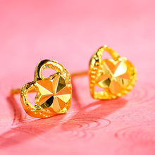 Gold-plated sand gold retro fashion temperament earrings female Valentines Day love