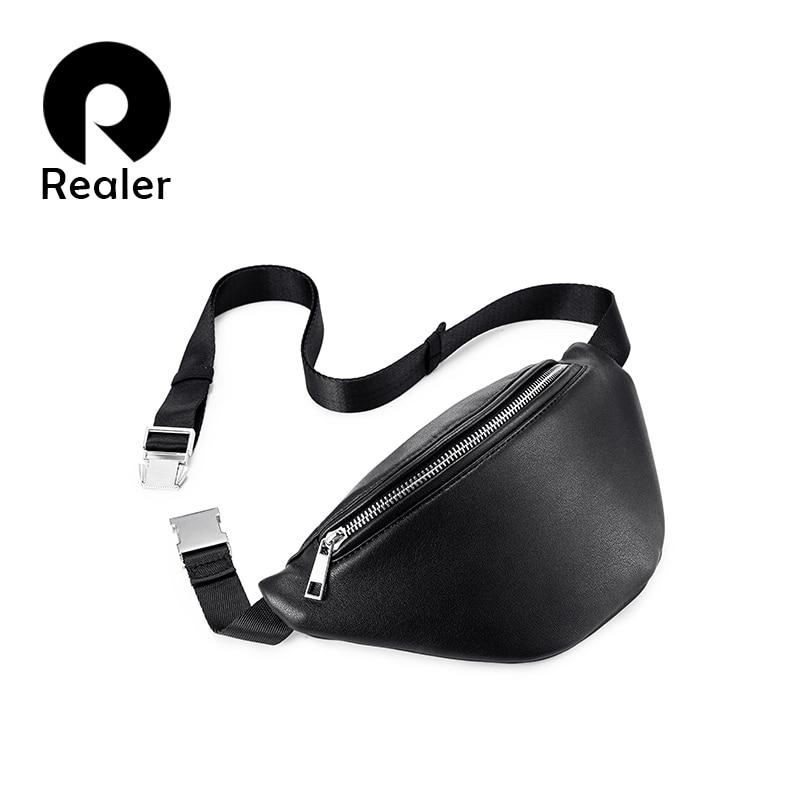 REALER Fanny Pack Fashion Waist Bag Women Travel Belt Bag Chest Female Shoulder Crossbody Bag Ladies Waterproof PU Leather