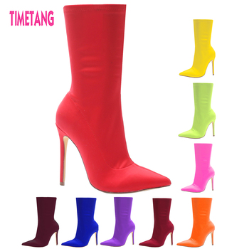 TIMETANG Latest Fashion Classic Pointed Toe Concise Ankle Women Boots Elegant Lady shoes Street Style/All Match boots