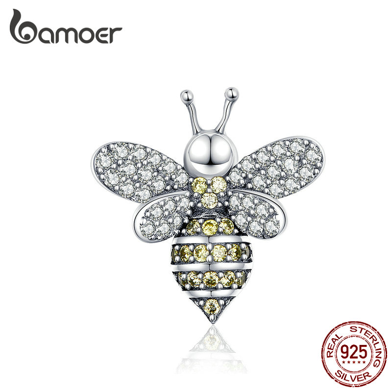 BAMOER Queen Bee Charm 925 Sterling Silver Insert Bee Charms for Original Women Silver Snake Bracelet & Bangle Necklace SCC1194