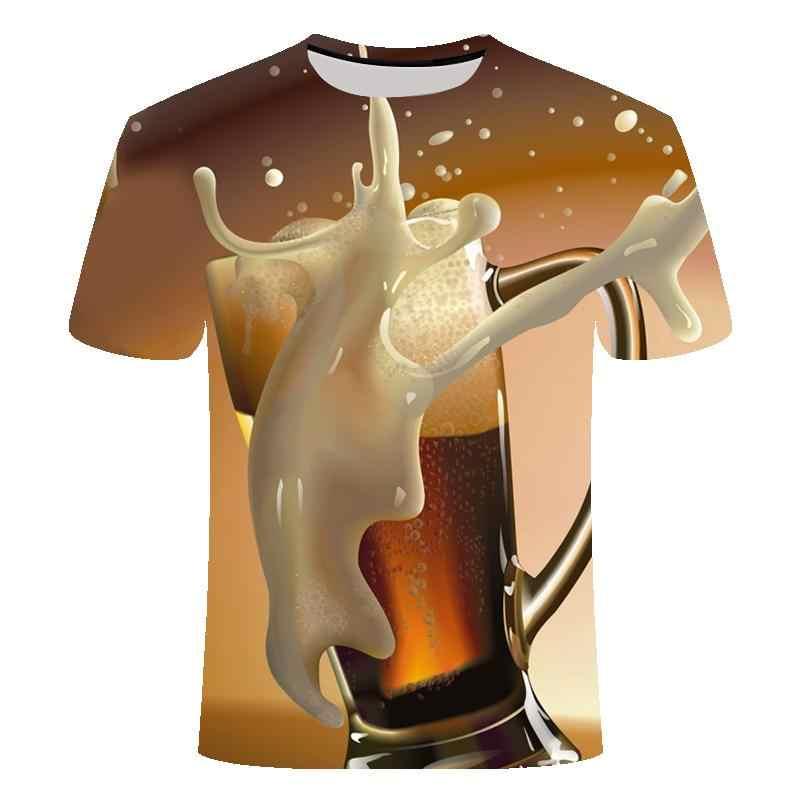 Spaß T-Shirt Sommer Männer der Marke Rundhals T-Hirt Glocke Bier Kurzarm 3D T-shirt Digitalen Druck T-Shirt