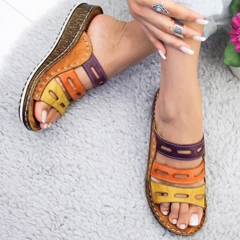 Women Slippers Mixed Color Shoes Hollow Wedges Platform Flat Sole Beach Mules Ladies Slides Party Sandals Zapatos Mujer Kf61