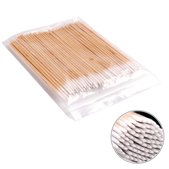 300pc Disposable Cotton Swab Lint Free Micro Brushes Wood Cotton Buds Swabs Ear Clean Stick Eyelash Extension Glue Removing Tool 1