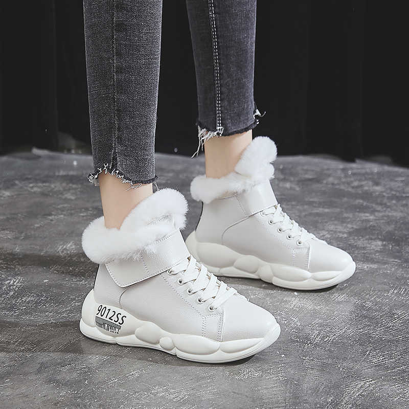 Wanita Sepatu Bot Musim Dingin Fashion Kulit Tahan Air Salju Boots Bulu Hangat Wedge Semata Kaki untuk Wanita Kasual Sepatu Sepatu Pasang Kaos Mujer