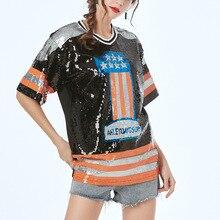 Рок блёстки вышитые ночной клубный верх модные Блестки Блестящий хип-хоп Sorority Bling топ блесток футболки