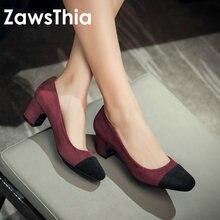 ZawsThia 2020 patchwork marka isimleri sığ yuvarlak ayak pompaları bayanlar ayakkabı moda yüksek topuklu stilettos resmi ofis kadın ayakkabı