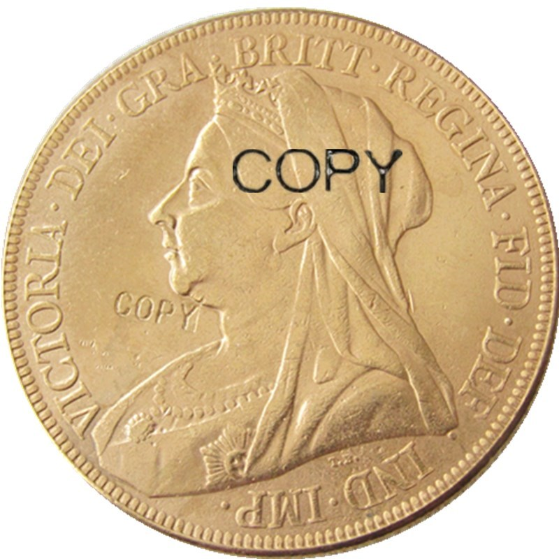 1893 Dronning Victoria Storbritannia Two Pounds Double Sovereign Gold Plated Copy Coin