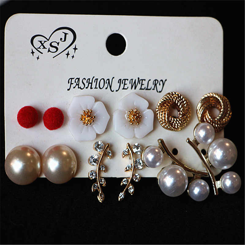 Wholesale 6 Pairs of Set Different Style Pearl Crystal Ear Studs Earrings Gift