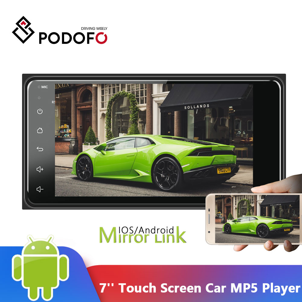Podofo 2.5D Touch Screen Car Radio Android 2din Car Multimedia Player Universal auto Stereo GPS/Wifi/FM/Mirrorlink/USB/Bluetooth image