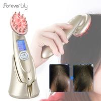 Elektryczny laserowy wzrost włosów grzebień podczerwieni EMS RF masażer wibracyjny mikroprądowa pielęgnacja włosów utrata włosów leczenie odrastanie włosów