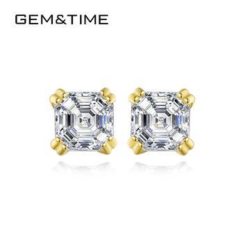 Gem&Time Elegant 100% 14K Gold Small Square Zircon Stud Earrings For Women Yellow Gold AAA CZ Wedding Bridel Ear Jewelry E14153