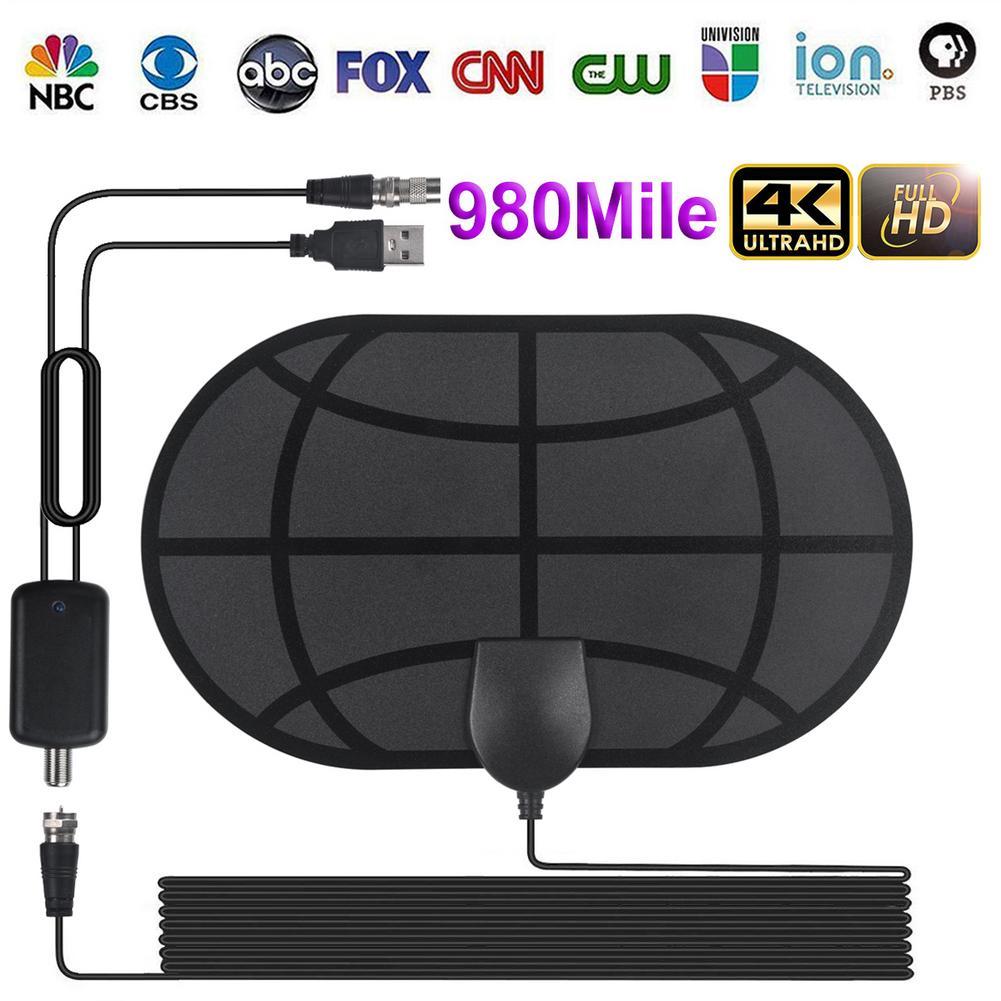 New 980 Miles 4K Digital HDTV Indoor TV Antenna With Amplifier Signal Booster TV Radius Surf Fox Antena HD TV Antennas Aerial