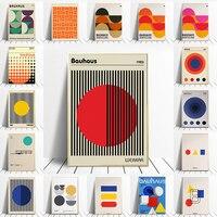 Bauhaus-carteles geométricos únicos, lienzo de arte minimalista, impresiones abstractas, pinturas murales para salón, decoración del hogar