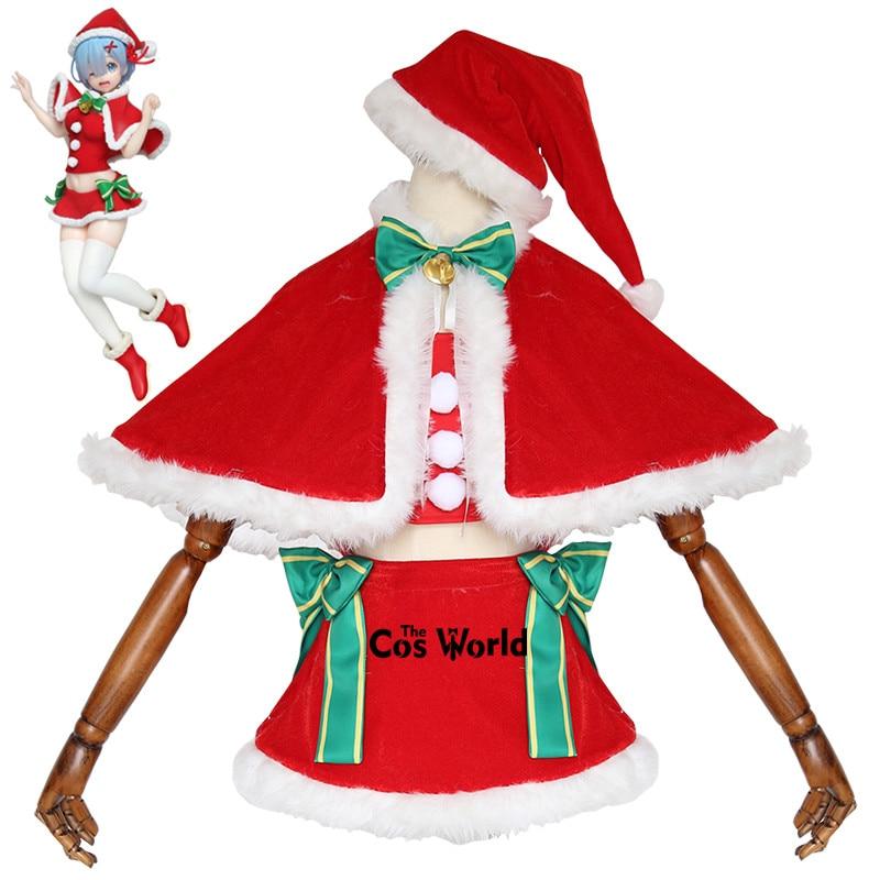 Re Zero Kara Hajimeru Isekai Seikatsu Remu Xmas Christmas Cloak Tube Tops Dress Uniform Outfit Anime Cosplay Costumes