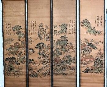 Chiny stary przewiń malarstwo czteroczęściowy obrazy bliski hall wiszące malarstwo malarstwo pejzażowe w Posągi i rzeźby od Dom i ogród na