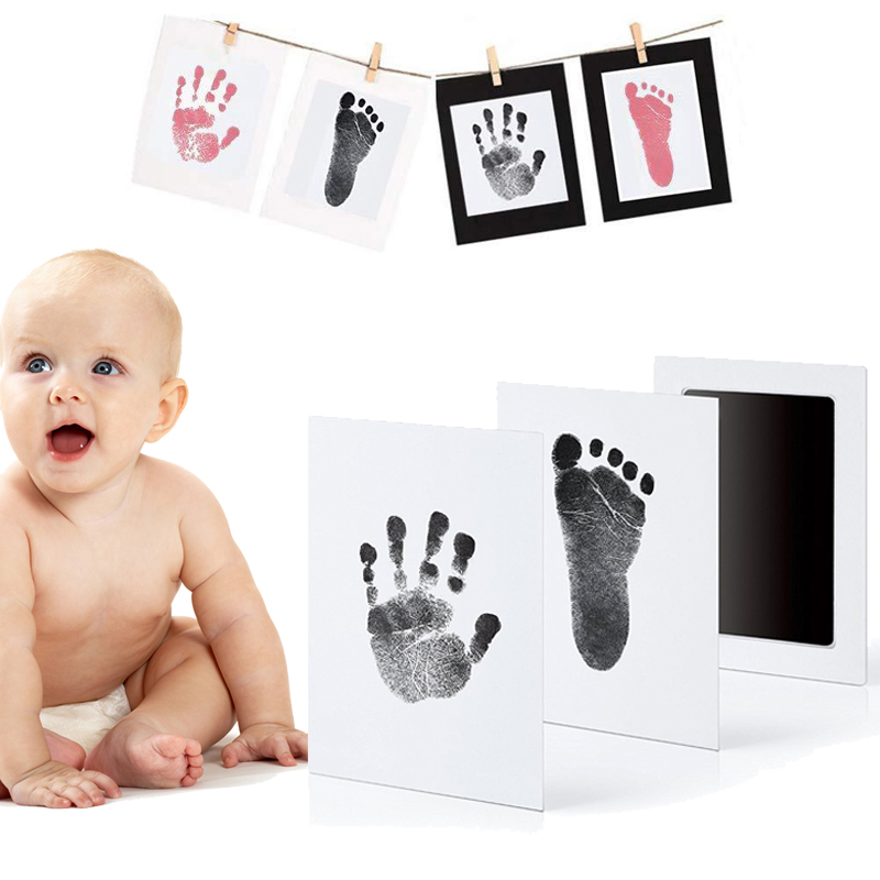 QWZ Sicher ungiftig Baby Footprints Handabdruck Keine Touch Haut Tintenlosen Tinte Pads Kits für 0-6 monate neugeborenen Pet Hund Drucke Souvenir