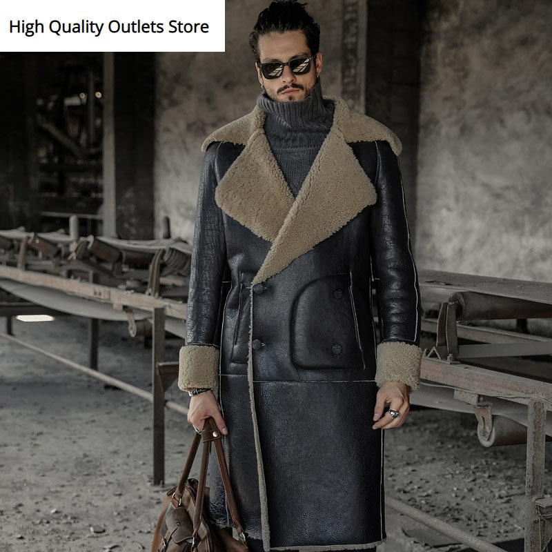 New Long Style Men Aggressive Noble Sheepskin Coat Winter Outerwear Shearling Genuine Leather Jacket Fur Coats 717