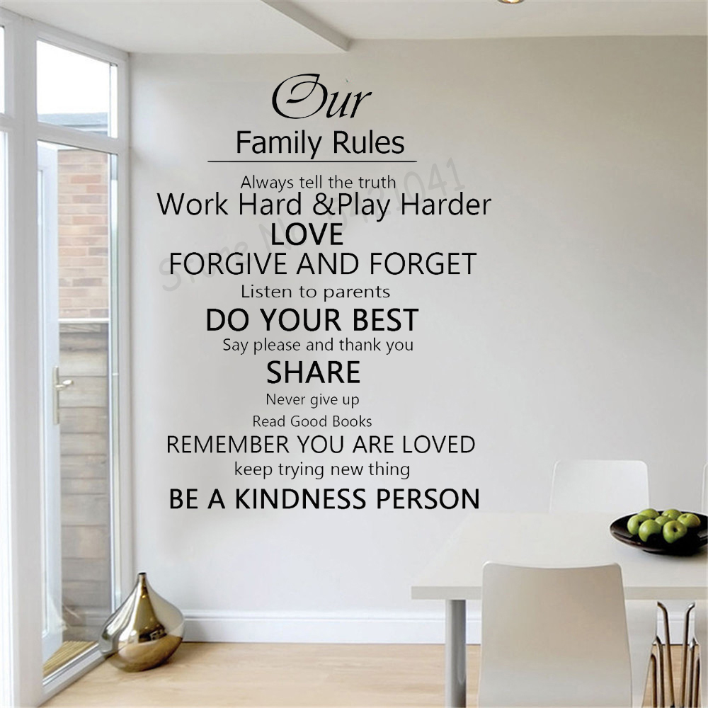 """Adhesive 4you ® Wall Decals Pearl Home /""""House Rules/"""""""